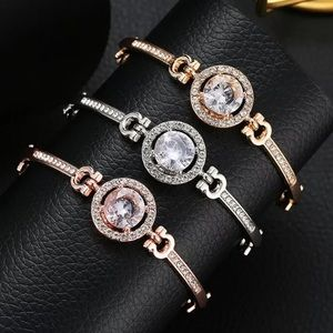 Silver and Rose Gold Halo Sapphire Bracelet